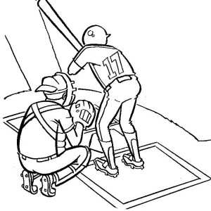 Two Baseball Player On Mount Coloring Page