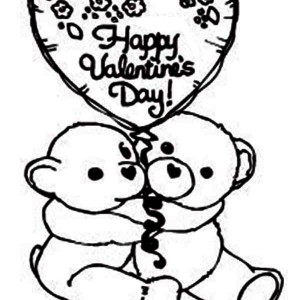 Two Cute Bear Say Happy Valentine's Day Coloring Page