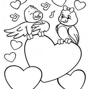Two Cute Birds On Valentine's Day Coloring Page
