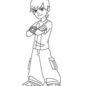 Typical Young Ben Cool Pose In Ben 10 Coloring Page