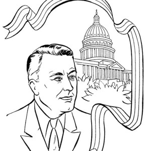 US President And The Capitol Hill On Presidents Day Coloring Page