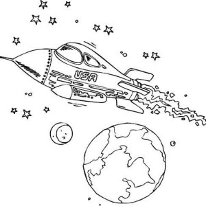 USA Rockets Ship Coloring Picture Coloring Page