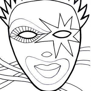 Wearing Mask On Mardi Gras Fest Coloring Page