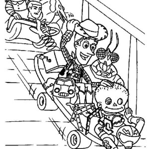 Woddy And Other Toys Playing Slide Coloring Page