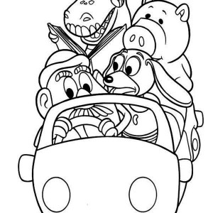 Woddy's Gang Riding A Car In Toy Story Coloring Page