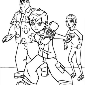 Young Ben, Granpa Max And Gwen In Ben 10 Coloring Page