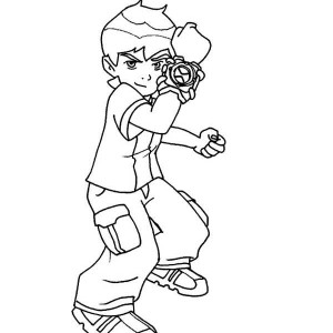 Young Ben And His Powerful Omnitrix Coloring Page