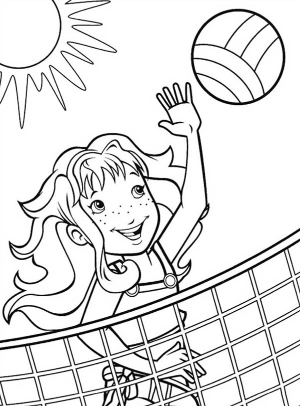 volleyball coloring pages A Girl Blocking The Volleyball Coloring Page   Download & Print  volleyball coloring pages