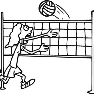 A Girl Can Not Catch The Volleyball Coloring Page