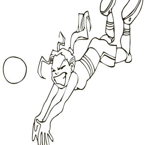 A Girl Doing Dig While Play Volleyball Coloring Page