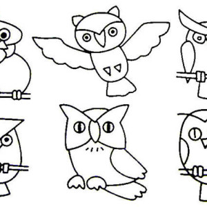 A Lot Of Owls For Coloring Coloring Page