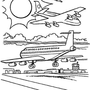 Airline Planes Coloring Page