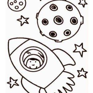 Astronaut Inside Rocket Ship Coloring Page