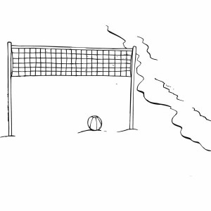 Beach Volley Ball Waiting For Players Coloring Page