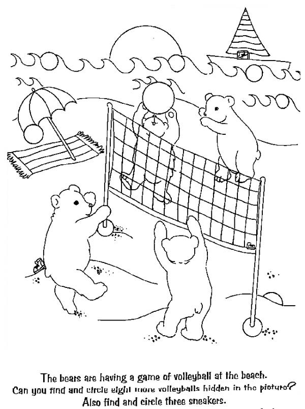 Bears Playing Volleyball Coloring Page Download Amp Print