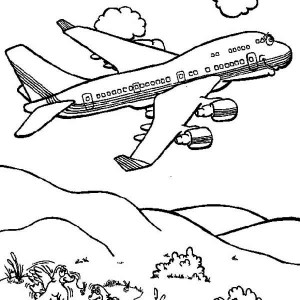 Cartoon Jumbo Jet Coloring Page