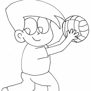 Cartoon Volleyball Ready For Service Coloring Page