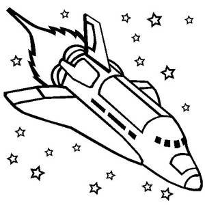 Challenger Space Shuttle Rocket Ship Coloring Page