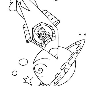 Driving A Rocket Ship Coloring Page