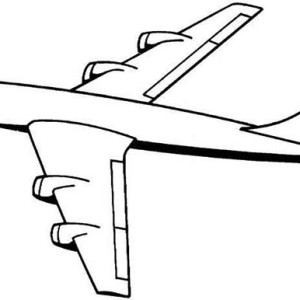 Four Jet Engines Jumbo Jet Plane Coloring Page