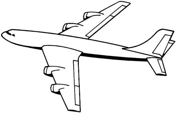 Four Jet Engines Jumbo Jet Plane Coloring Page - Download ...