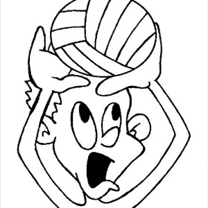 Funny Kids Playing Volleyball Coloring Page