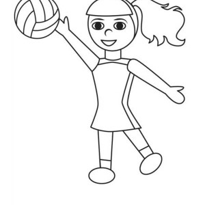 Girl Having Fun Play Volleyball Coloring Page