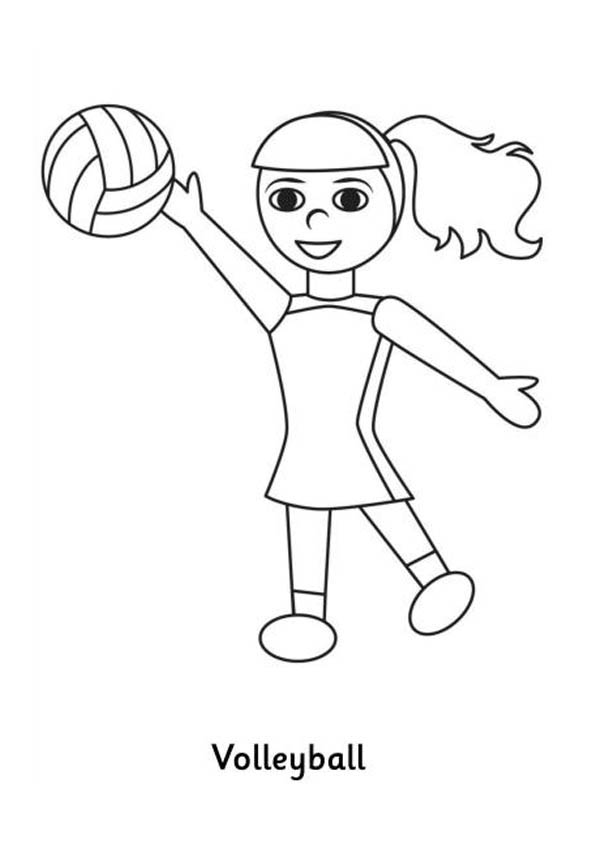 Girl Having Fun Play Volleyball Coloring Page Download