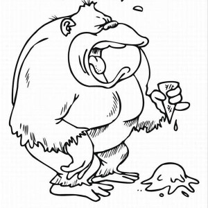 Gorilla Is Crying For His Ice Cream Coloring Page