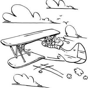 Happy Pilot In Old Airplane Coloring Page
