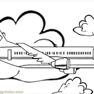 Jumbo Jet Simple Coloring For Kids Coloring Page