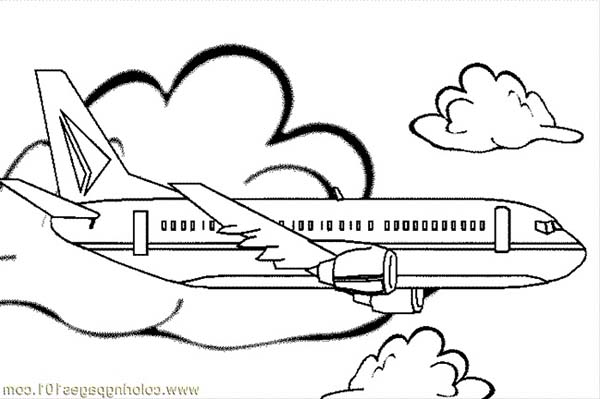 Jumbo Jet Simple Coloring For Kids Coloring Page Download