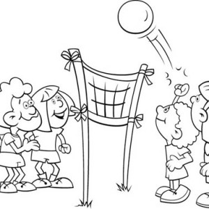 Kids Playing Volleyball Coloring Page