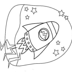 Kids Rocket Ship Drawing Coloring Page