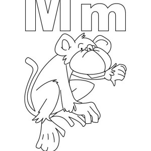 Learning Writing Letter M For Monkey For Children Coloring Page