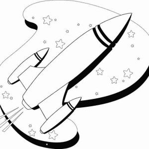 Line Art Of Rocket Ship Coloring Page