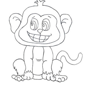 Little Monkey Smiling Coloring Page