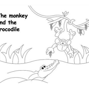 Monkey And The Crocodile Coloring Page