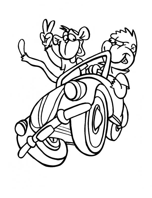 Monkey Driving A Car With Friend Coloring Page