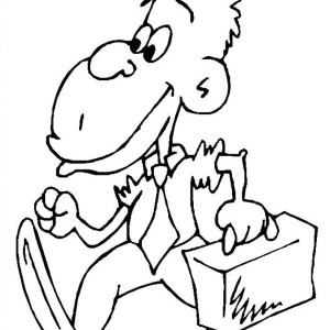 Monkey Going To Work Coloring Page