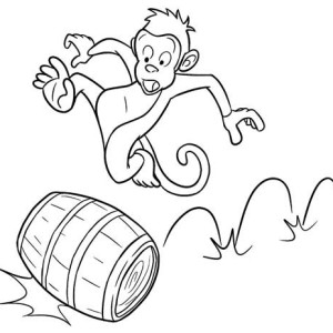 Monkey Running On A Barrel Coloring Page
