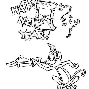 Monkey Says Happy New Year Coloring For Kids Coloring Page