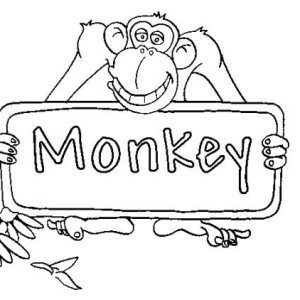 Monkey Sign Board Coloring Page