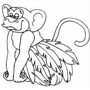 Monkey Wearing Leaf Skirt Coloring Page