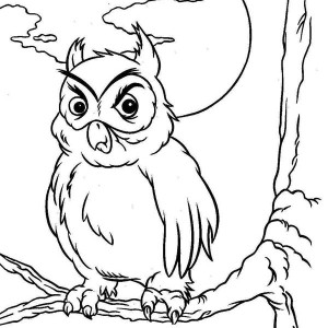 Old Horn Owl Coloring Page