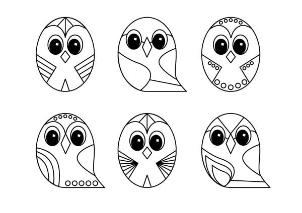 Owl Line Art Design Coloring Page