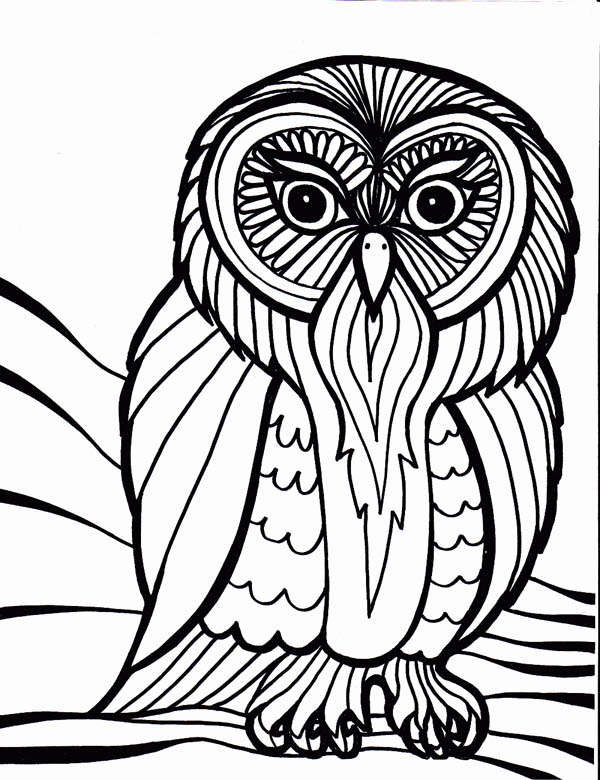 Owl Outline Art Coloring Page Download Amp Print Online