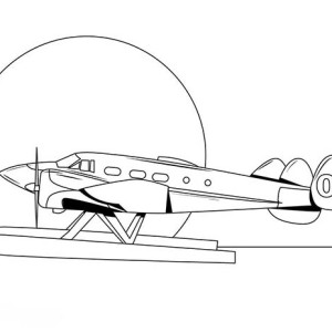 Passenger Amphibian Airplane Coloring Page