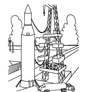 Ready To Launch Rocket Ship Coloring Page