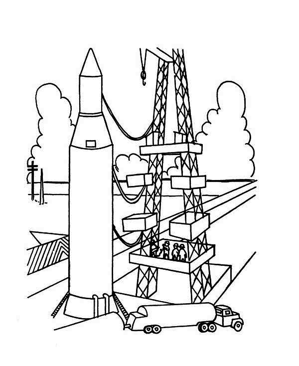 Ready To Launch Rocket Ship Coloring Page - Download ...